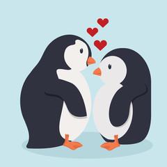Penguin bird  cartoon in love