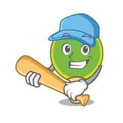Playing baseball ping pong racket character cartoon