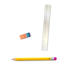 ruler, eraser and pencil. Vector illustration