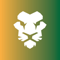 Lion head with green background vector