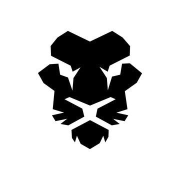 Face lion black color logo icon