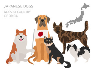 Dogs by country of origin. Japanese dog breeds. Infographic template