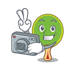 Photographer ping pong racket mascot cartoon