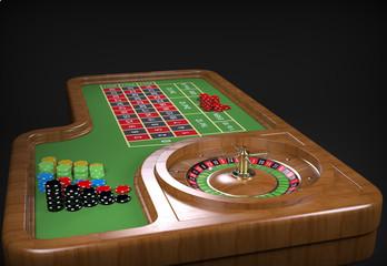 Roulette desk. 3D rendering