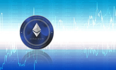Ethereum coin cryptocurrency closeup. Blue background with diagrams and graphs of the exchange. Blockchain technology digital payment network for financial transactions. Cyber money.