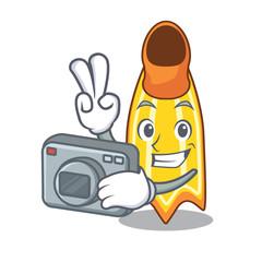 Photographer swim fin mascot cartoon