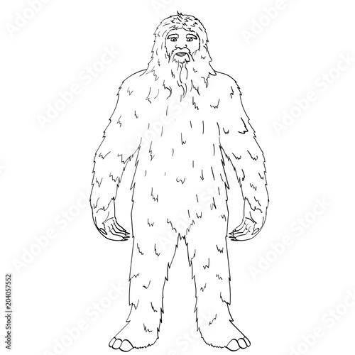 Isolated Object On White Background Point Vector Nepal Yeti Abominable Snowman Children