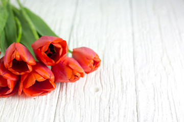 A bunch of red tulips on a white wooden table.