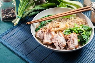 Ramen. Japanese noodle soup with pork