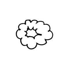 Handdrawn a cloud of smoke doodle icon. Hand drawn black sketch. Sign symbol. Decoration element. White background. Isolated. Flat design. Vector cartoon illustration