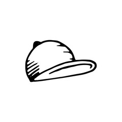 Handdrawn cap doodle icon. Hand drawn black sketch. Sign symbol. Decoration element. White background. Isolated. Flat design. Vector cartoon illustration