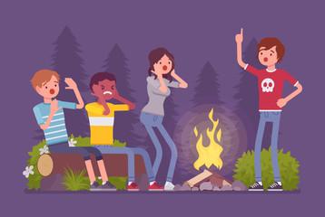 Spooky story near campfire