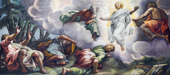 Wall Mural - PARMA, ITALY - APRIL 16, 2018: The fresco of Transfiguration on the mount Tabor in Duomo by Lattanzio Gambara (1567 - 1573).