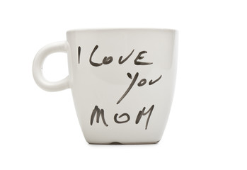 I love you Mom text on white mug