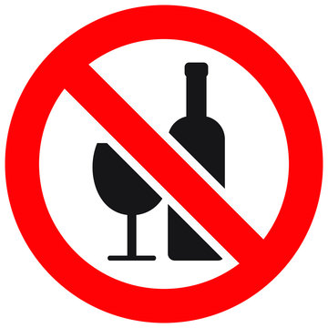 No drinking. No alcohol sign. Prohibit sign, vector illustration.