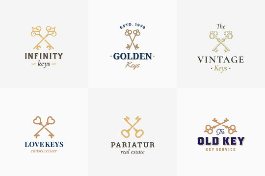 Vector Retro Key Emblems Set. Abstract Vector Signs, Symbols or Logo Templates. Different Crossed Keys Sillhouettes with Classy Vintage Typography.