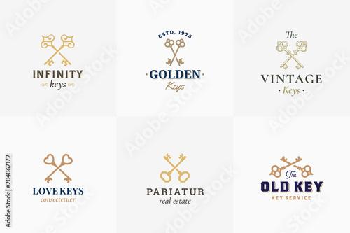 Vector retro key emblems set abstract vector signs symbols or logo abstract vector signs symbols or logo templates different maxwellsz