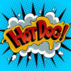 Hot dog word comic book pop art vector
