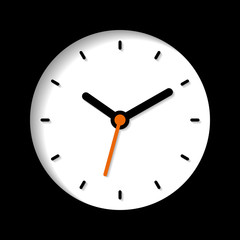 Clock icon in flat style, round timer on balck background. Business watch. Vector design element for you project