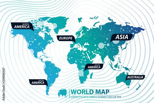 Modern Digital World Map Globalization Concept. Vector Illustration on