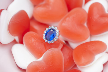 Luxury ring in between sweet lovely environment