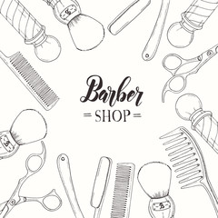 Hand drawn Barber Shop background  with doodle razor, scissors, shaving brush,  comb, classic barber shop Pole. Sketch. Lettering. Vector illustration. Banner, flyer, brochure. Advertising