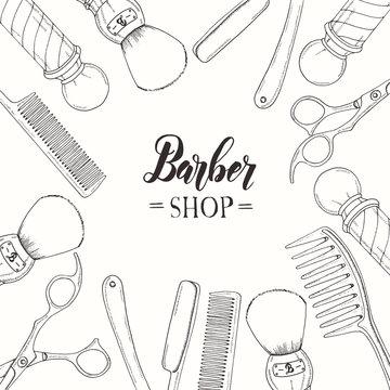 Hand drawn Barber Shop background  with doodle razor, scissors, shaving brush,  comb, classic barber shop Pole. Sketch. Lettering. Vector illustration. Banner, flyer, brochure. Advertising