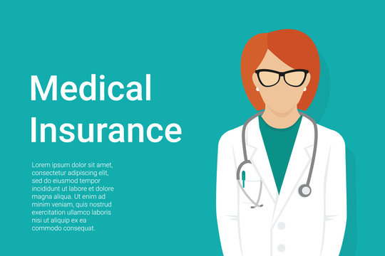 Medical insurance green background with faceless female doctor wearing uniform and stethoscope and copy space for health care information. Flat vector illustration for healthcare and medical services