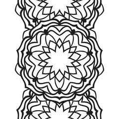 Seamless border for coloring book. Floral mandala ornament for antistress adult drawing. Suitable for laser cutting. Vector design.