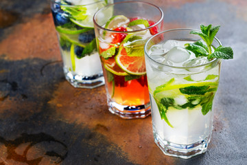 Summer homemade fruit and berries lemonade