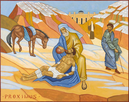 BOLOGNA, ITALY - APRIL 18, 2018: The icon of Parable of the Good Samaritan in church  Chiesa di San Pietro by Giovanni Paolo Bardini.