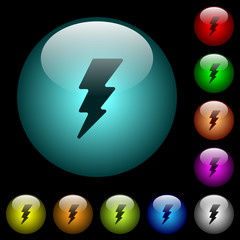 Flash icons in color illuminated glass buttons