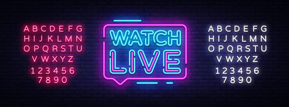 Watch Live tag neon sign. Neon Text Watch Live. Online View. Vector illustration. Editing text neon sign