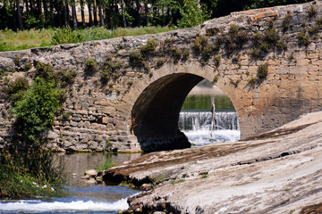 medieval romanesque bridge in Spain