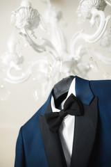 Blue stylish groom costume for wedding ceremony.