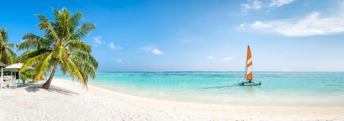 Strand Panorama im Sommer mit Palmen und türkisblauem Meer