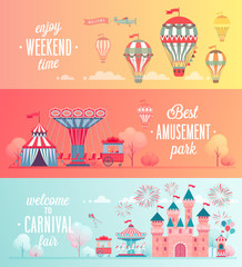 Set of Amusement park landscape banners.