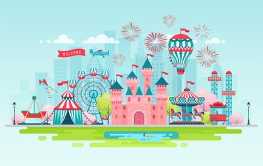Amusement park landscape banner