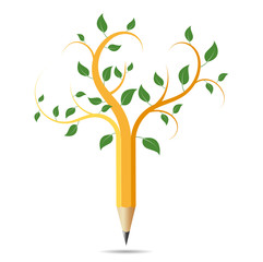 Pencil like a tree, concept acology