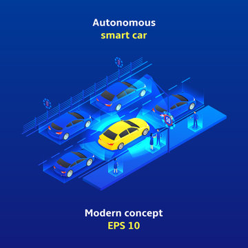 Autonomous smart car concept background. Smart car scans road, signs, objects and crosswalk in the city. Vector illustration.