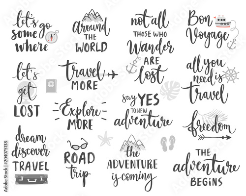 Wall mural Travel Lettering Design Set