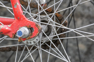 Closeup image shows details of spokes and gears on a red bike.