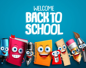 Back to school characters set vector background design with colorful funny educational cartoon mascots elements and text in blue background. Vector illustration.
