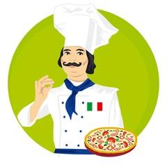 Vector illustration of an Italian chef