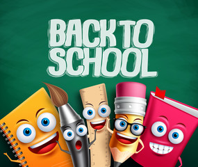 Back to school vector banner with school characters in green background. School items cartoon mascots with funny faces for education elements. Vector illustration.