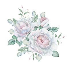 Watercolor White Roses Bouquet