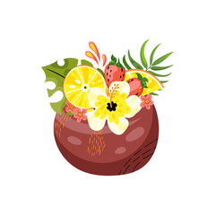 Coconut with fruits and flowers