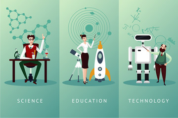 Scientist vector cartoon characters set. Science and education concept. Technology backgrounds collection.