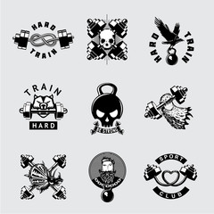 Gym and fitness club vintage vector icon set. Retro style bodybuilding sport emblem with barbell. Brutal workout signs.