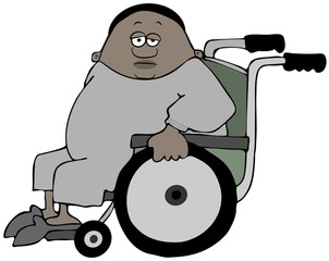 Illustration of a black man wearing sweats sitting in a green wheelchair.